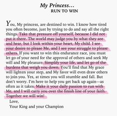 To My Princess... run to win