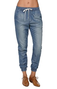 and denim joggers. all the comforts of a sweatpants plus this relaxed look of jeans. LOVE.