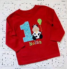 Farm Cow First, Second, Third, Birthday Shirt- Boys or Girls Colors Avail- Free Personalization