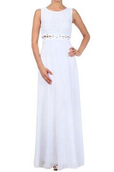 White Duo Fabric Maxi Dress