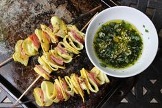 grilled squash and prosciutto ribbons, grilled squash and prosciutto, grilled squash and prosciutto, grilled squash and prosciutto with mint...