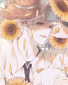 🌻🌻🌻Sunflowers ,where my childhood memories and you are where I was naive to be innocent love you🌹🌹, is also where we have good memories! Handsome Anime Guys, Cute Anime Guys, Hot Anime Boy, Manga Anime, Manga Art, Anime Art, Anime Flower, Image Manga, Boy Art