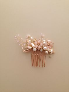 Blush Pink and gold wedding Bridal hair comb by amuandpri on Etsy, $60.00