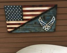 Spilt American and Air Force Flag Diy Wood Projects, Wood Crafts, Woodworking Projects, Woodworking Bed, Fun Projects, Air Force Mom, Air Force Gifts, Military Gifts, Military Retirement