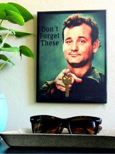"""SALE TODAY ONLY Key Holder BiLL MuRRAY Key Holder and Wood Mounted Wall Art. """"5.5 x 8"""". """"Don't Forget These"""" Personalize Your Own Piece Too! door BoWinston op Etsy https://www.etsy.com/nl/listing/196012331/sale-today-only-key-holder-bill-murray"""