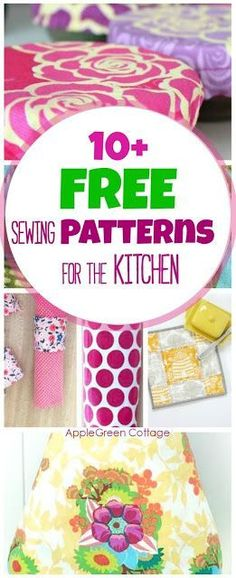 10+ adorable, useful and free DIY sewing projects for your kitchen. All include a free sewing pattern and nearly all are beginner-friendly tutorials. They make super handy DIY gifts for friends, for housewarming parties, and for your own kitchen decoration.