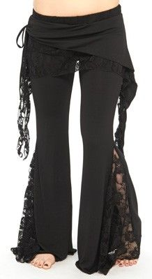 Lace Tribal Fusion Pants - BLACK. Make by cutting seam of regular yoga pants and adding lace panel.