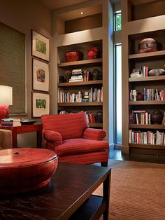 love the tall skinny window in this home library