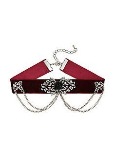 Victorian Velvet Splendor // Burgundy Velvet Victorian Chain Choker