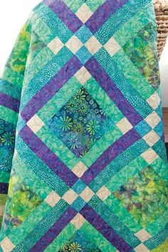 Batik Fabric Quilt Kit Easy Street Blue Green Aqua Batik Cotton Kit | auntiechrisquiltfabric - Craft Supplies on ArtFire