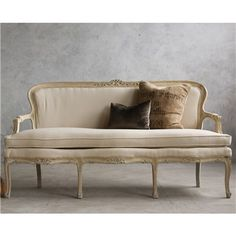 Eloquence One of a Kind Vintage Settee Louis XV Sandy Cream I LOVE THIS!!!