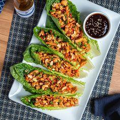 Teriyaki Chicken Lettuce Wraps – Kinder's BBQ Easy Lettuce Wraps, Lettuce Wrap Recipes, Healthy Chicken Lettuce Wraps, Asian Chicken Wraps, Shrimp Lettuce Wraps, Easy Teriyaki Chicken, Chicken Wrap Recipes, Cashew Chicken, Recipe For Lettuce Wraps