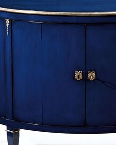 luxury furniture - hand-painted furniture - Demilune wood cabinet with lightly distressed lacquered blue finish