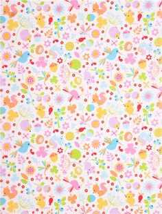 white Riley Blake animal forest fabric Wildflower Meadow 2