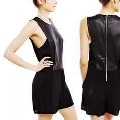 "STYLESTALKER Perforated Leather Black Romper Stylestalker Future Echoes Black Leather Romper  Retail Price: $139  Size: S  NWT  L31, B35, W32, H40, inseam 2.5"".                        Throw on some edge with sleek lines and modern fit, this romper combines a silky body with perforated faux leather inserts to create a statement-making number. Add in side pockets and an exposed back zipper, just pair with your fave jewels and a bootie for a bold look.     Hand Wash Cold Inside Out, Hang to…"