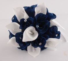 Toss Flower Girl Bridesmaid wedding Bouquet Navy blue,White Rose Calla lily