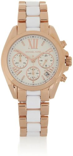 Pin for Later: Prepare to Be Dazzled by These Designer Discounts Michael Kors Bradshaw Rose Gold-Tone and Acetate Chronograph Watch Michael Kors Bradshaw Rose Gold-Tone and Acetate Chronograph Watch (£156, originally £260)