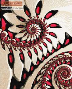 Red and white fractal cross stitch kit