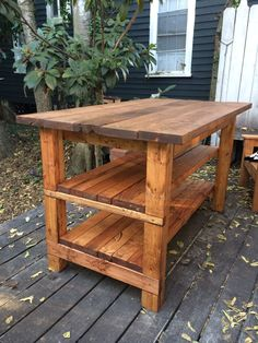 DIY~Tutorial on making this Hand-Built Rustic Kitchen Island for the House. #DIY #Kitchen