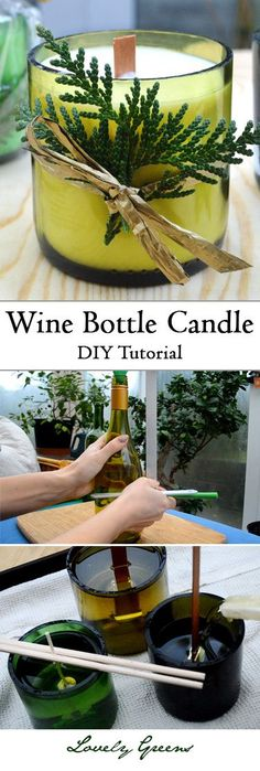 DIY Wine Bottle Candles is part of Diy candles - Learn how to use glass wine bottles to make creative and beautiful candles Includes tips on cutting the bottle and filling it with soy wax & a wooden wick Wine Craft, Wine Bottle Crafts, Bottle Art, Wine Bottle Decorations, Wine Decor, Beer Bottle, Garrafa Diy, Decoration Creche, Diy Candles Decoration