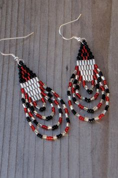 Red Silver and Black Seed Bead Earrings  by CreationsbyWhiteWolf, $15.00