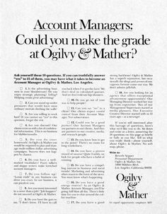 Account Managers: Could you make the grade at Ogilvy & Mather? #OgilvyArchive