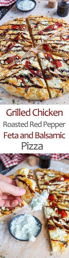 Mediterranean Grilled Chicken and Roasted Red Pepper Pizza with Feta and Balsamic Glaze festa;recipes with feta;spinach and feta; Paprika Pizza, Comida Pizza, Balsamic Glaze Recipes, Marinated Grilled Chicken, Balsamic Chicken, Balsamic Onions, Peppers Pizza, Grilled Peppers, Roasted Red Peppers