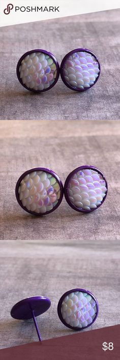"""🆕Opal White Mermaid Scale Purple Stud Earrings! New, Earrings Handmade by Me! Approx 1/2""""Diameter, 12mm; Opal White Mermaid Scale on Purple Post Back for Pierced Ears! 🧜♀️Can Make with Any Style Back Shown, just please ask! 📸These are my pic's of the Actual items you will Receive!  ▶️Part of 3 for $15 Deal! Bundle & Save! • Mermaid Scale Stud Earrings for pierced ears • Nickel, Lead & Cadmium Free  *NO TRADES *Price is FIRM as Listed!  *Sales are Final-Please Read Descriptions…"""