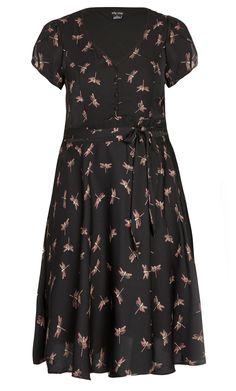 City Chic - SWEET DRAGONFLY DRESS - Women's Plus Size Fashion