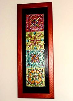 Faux tin tile wall art created from disposable cookie sheets or thrift store picture frames Tile Crafts, Metal Crafts, Recycled Crafts, Aluminum Can Crafts, Diy Wall Art, Diy Art, Tin Foil Art, Soda Can Crafts, Tin Can Art