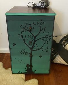 Painted Furniture. Upcycled. Stencils. Hand Sketched Stencils. Kids