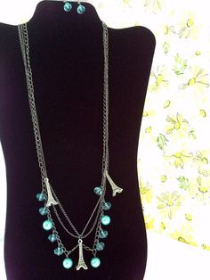 sky blue Eiffel Tower jewelry set aquamarine statement necklace & matching earrings handcrafted by #KikisCollections etsy.. end of summer SALE $12.00
