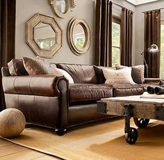 The Lancaster Leather Sofa From Restoration Hardware Carry Dark Brown Up Walls Thru Drapes And Reduce Contrast Between Darkest Wall Paint