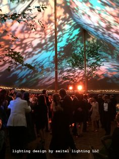 Dancers under a sailcloth tent lit with a playful multicolor foliage design… Wedding Tent Lighting, Tent Wedding, Sailing Outfit, Window Wall, Event Ideas, Light Art, Tents, Dancers, Lighting Design