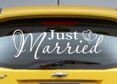 Just married decal marriage wedding car decal honeymoon vinyl just married sticker vinyl auto decal wedding decoration junglespirit Image collections