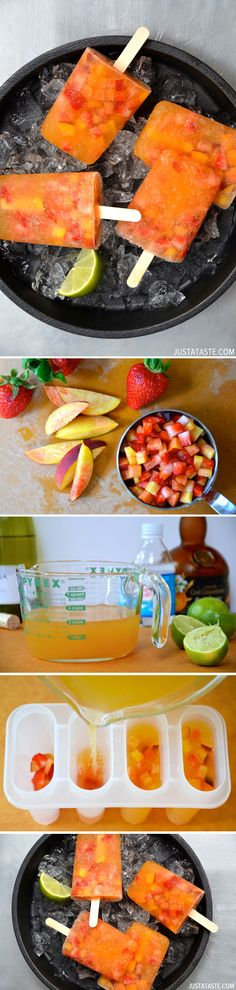 Peach Sangria Popsicles Would be good in a glass of champagne as shown on Pinterest Boards