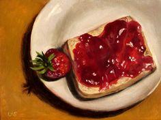 Strawberry - before and after - Erdbeere - vorher und nachher, 7.1x9.4'', oil on canvas panel, $110.00