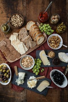 Party platter with crackers, cheese, fruit, nuts, via Home Sweet Home