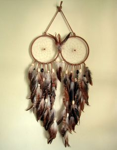 Owl Dream Catcher - Beige, Ivory and Brown Extra Large Feather Dream Catcher (Ready to Ship)