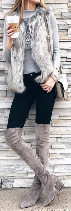 #winter #fashion /  Grey Faux Fur / Grey Knit / Black Skinny Jeans / Brown OTK Boots