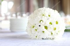 Stock Photo By Photobac Daisy Centerpieces, Table Centerpieces, Table Decorations, Wedding Table, Wedding Reception, Fort William, Gardenias, Mom Birthday, Bouquet