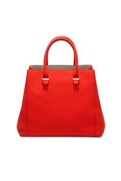 A new shopper style for SS13 in sunset-red buffalo-leather with a powder-coloured calf-leather trim