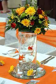Unique Fish Bowl Ideas | Gold Fish And Flower Centerpiece Idea Vase Filled With Decorative ...