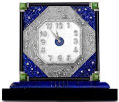 Diamond-set lapis lazuli, rock crystal, jade and onyx desk clock - Lacloche Frères, circa 1930.