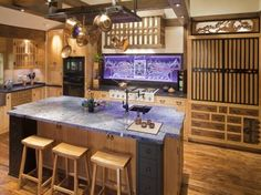 cool japanese kitchen design with bamboo decoration and lampion
