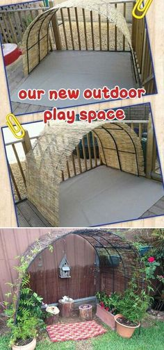 Create this cute play space for kids by tying two garden arches together and fastening reed screening over the top projects for toddlers 15 Cool and Budget-Friendly Projects for a Kid's Play Area - HomeDesignInspired Kids Outdoor Play, Outdoor Play Spaces, Kids Play Area, Backyard For Kids, Outdoor Areas, Childrens Play Area Garden, Play Area Outside, Eyfs Outdoor Area, Children Garden