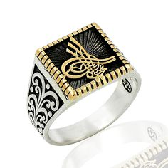 925 STERLING SILVER RING FOR MEN WITH SIGNET OF OTTOMAN'S SULTAN