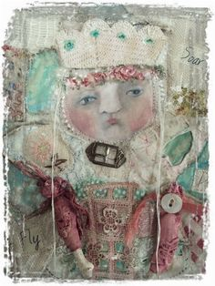Soar Fly Discover Fabric Collage ART Doll by Mosshillstudio