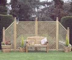 Grange Fencing Alderley Wing Trellis: Amazon.co.uk: Garden & Outdoors another possible look for centre divider, sloping to path?