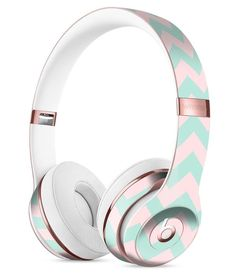 The Coral and Mint Chevron Pattern Full-Body Skin Kit for the Beats by Dre Solo 3 Wireless Headphones Cute Headphones, Wireless Headphones, Crown Headphones, Beats By Dre, Mint Chevron, Phone Accesories, Apple Products, Girly Things, Full Body
